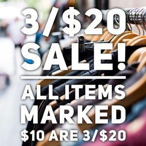 3/$20 SALE ALL ITMES  $10 are 3 for $20